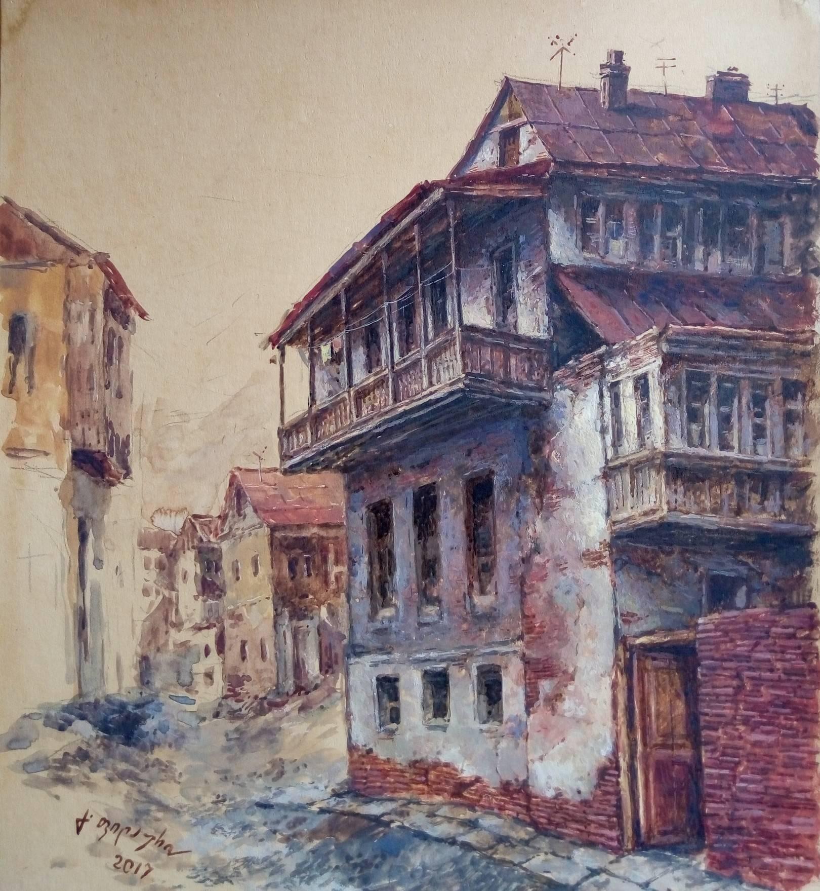 «Старый дом»           бумага, акварель, гуашь «Old house»                paper, aquarelle, gouache 32x28, 2017
