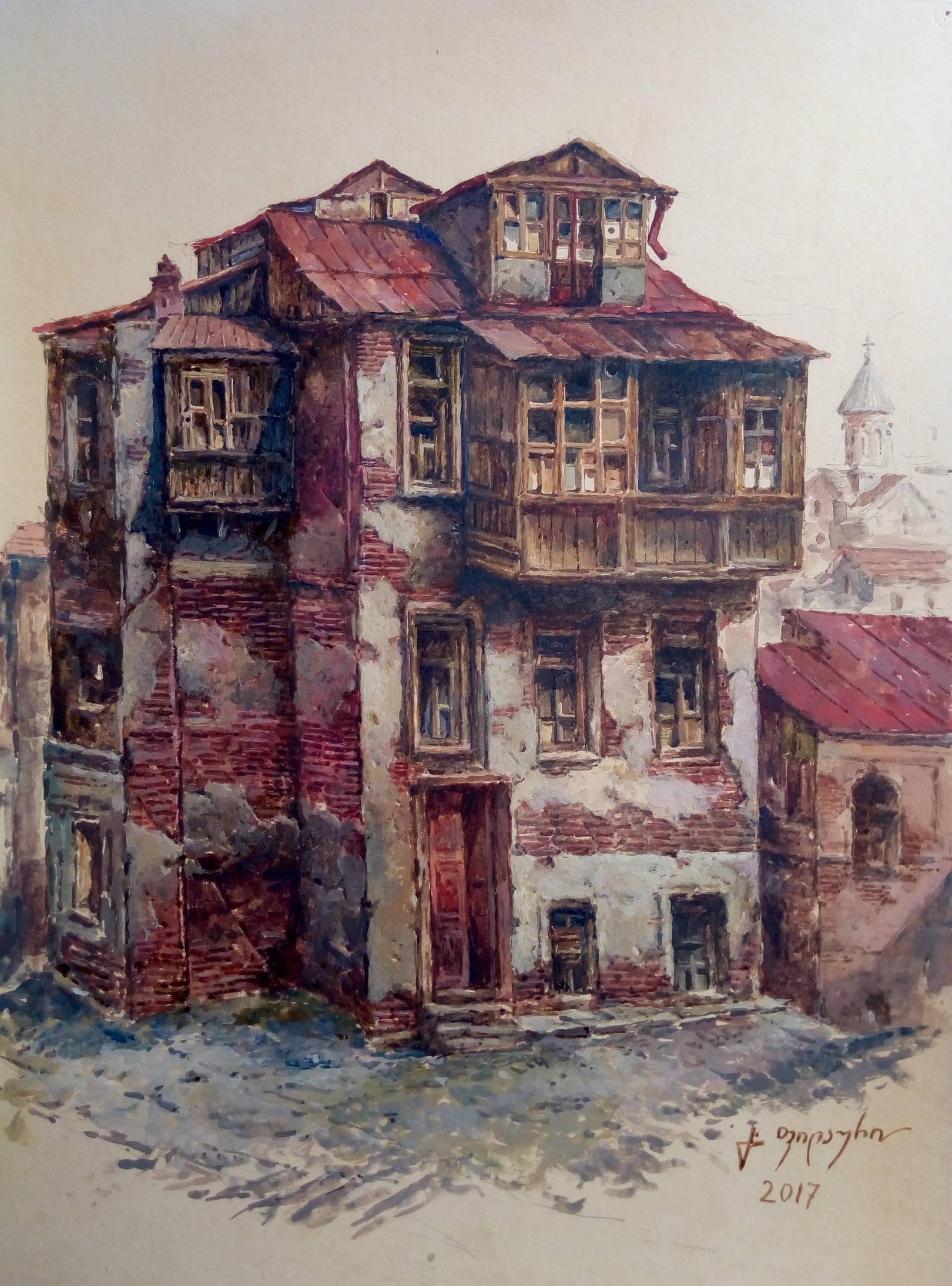«Старый дом»           бумага, акварель, гуашь «Old house»                paper, aquarelle, gouache 40x29, 2017