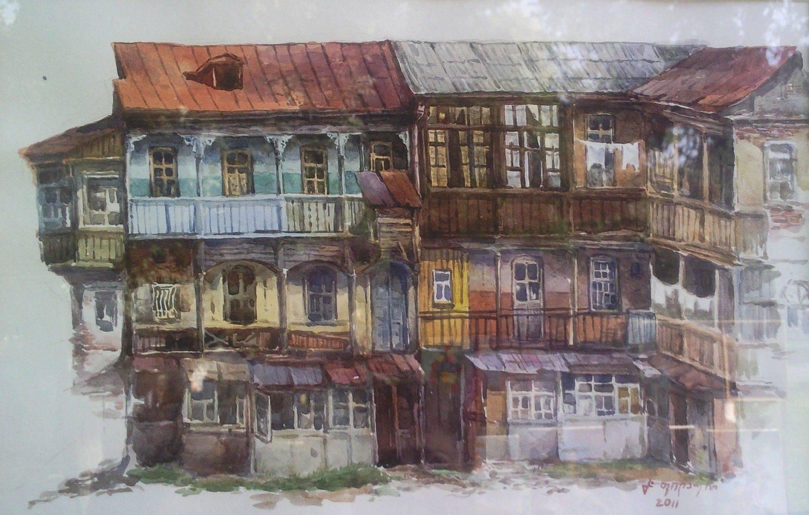 «Итальянский дворик»    бумага, акварель «Italian patio in Tbilisi»      paper, aquarelle           20x27, 2011