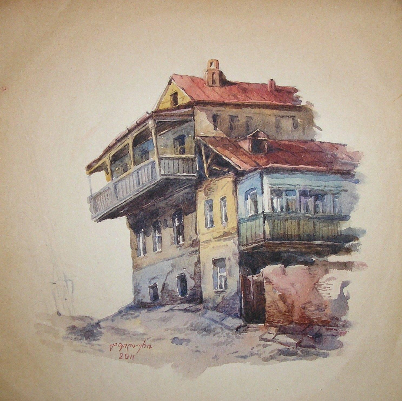 «Старый дом в Авлабари»             бумага, акварель «Old house in Avlabari»                    paper, aquarelle           30x30, 2011