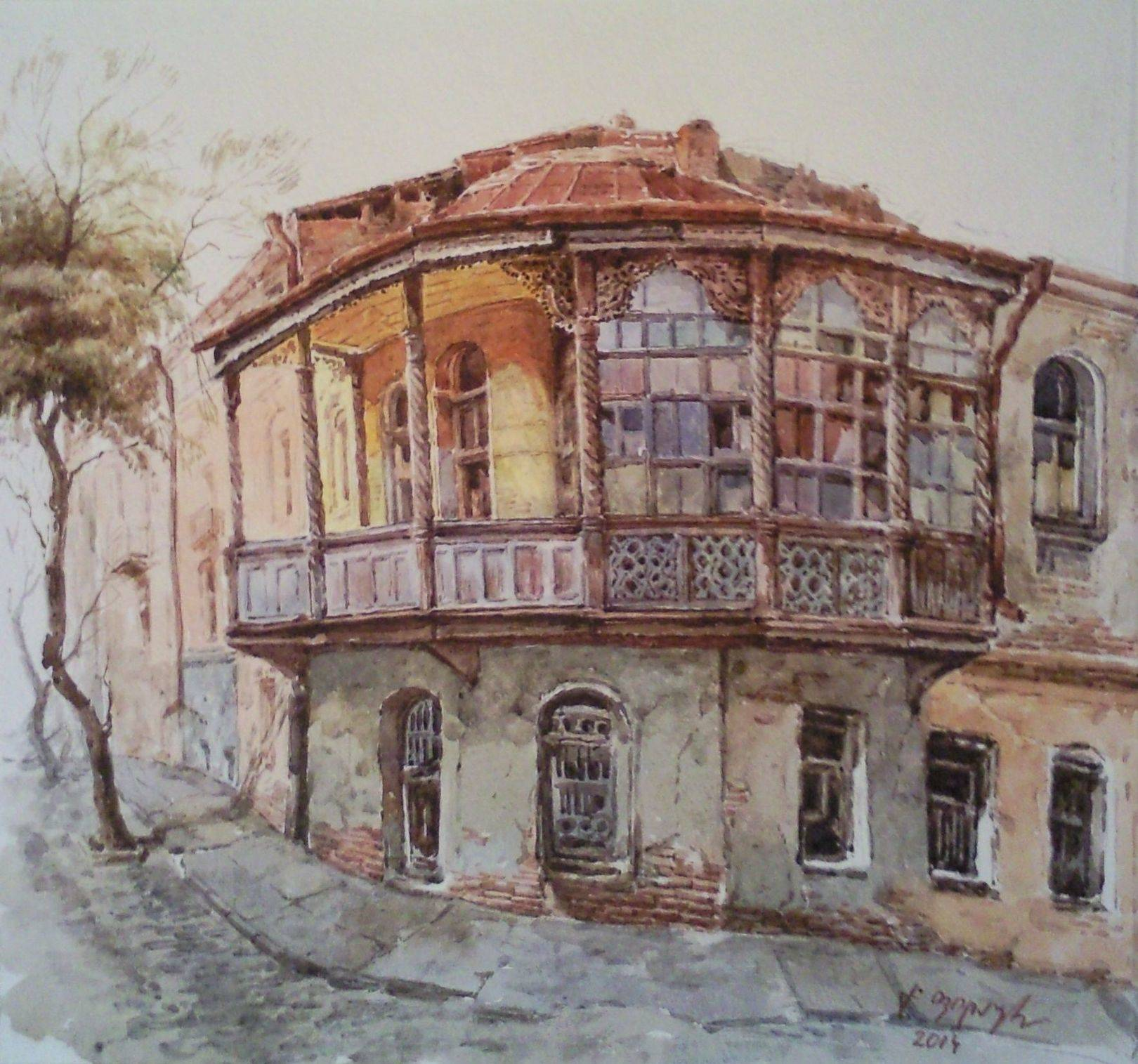 «Старый дом»        бумага, акварель «Old house»             paper, aquarelle           30x30, 2014