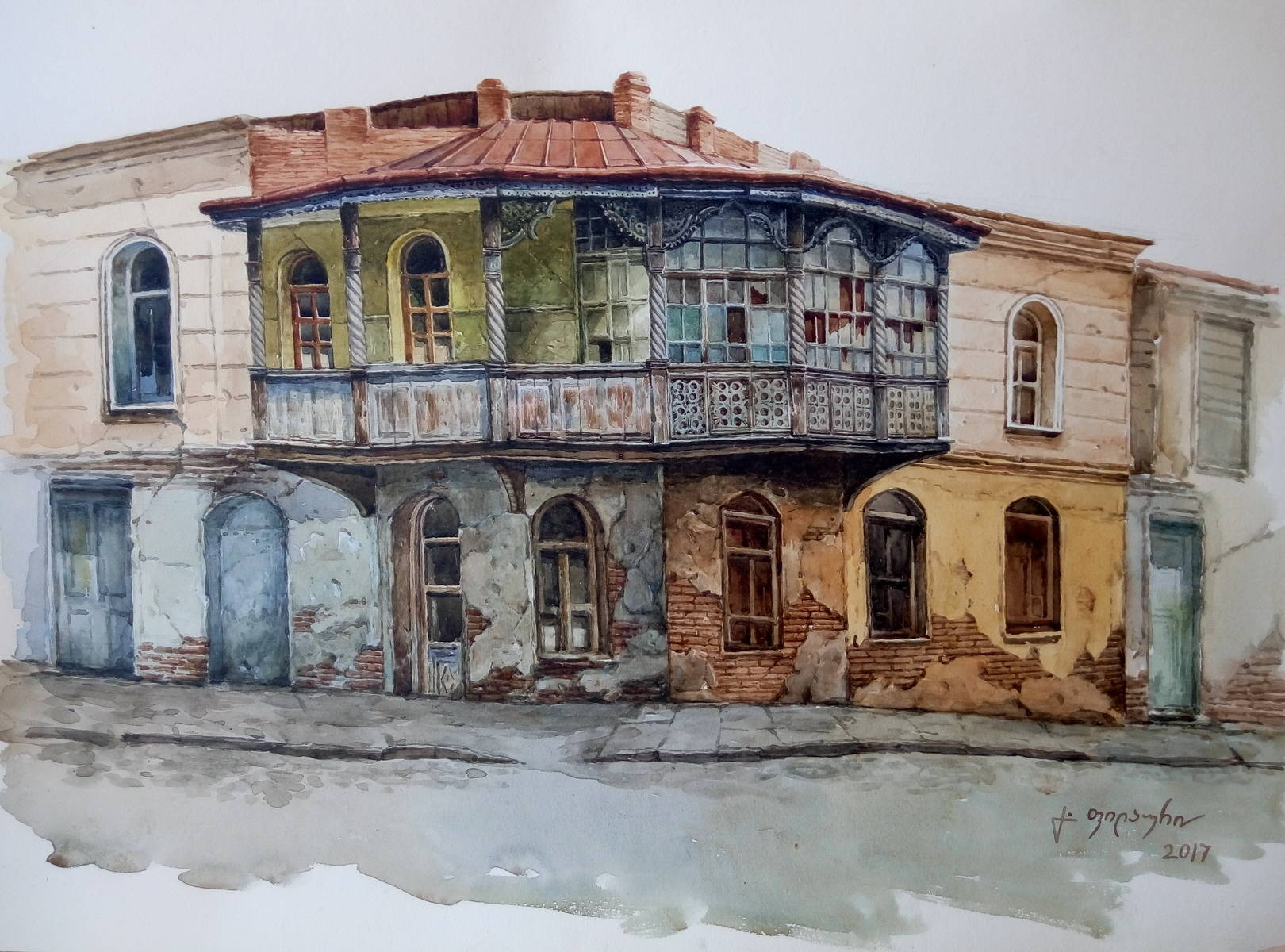 «Старый дом»         бумага, акварель «Old house»              paper, aquarelle           37x53, 2017