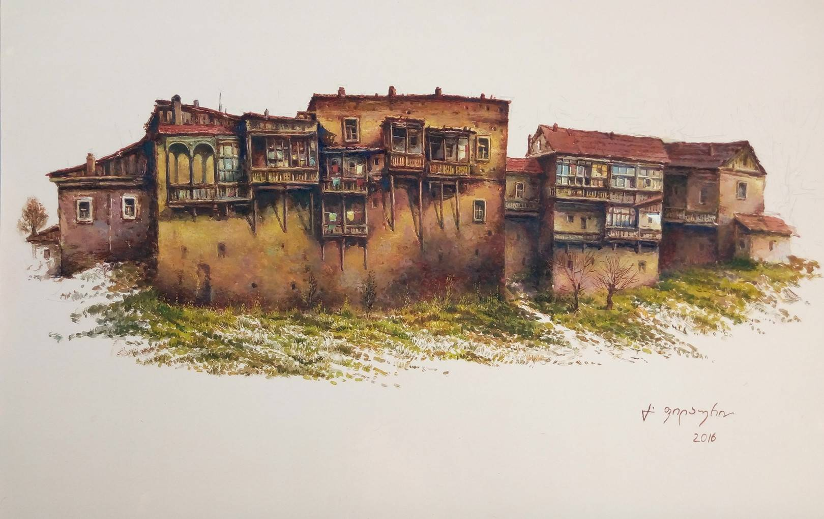 «Старые дома около Метехи»       бумага, акварель, гуашь «Old houses near Metekhi»              paper, aquarelle, gouache 35x53, 2016
