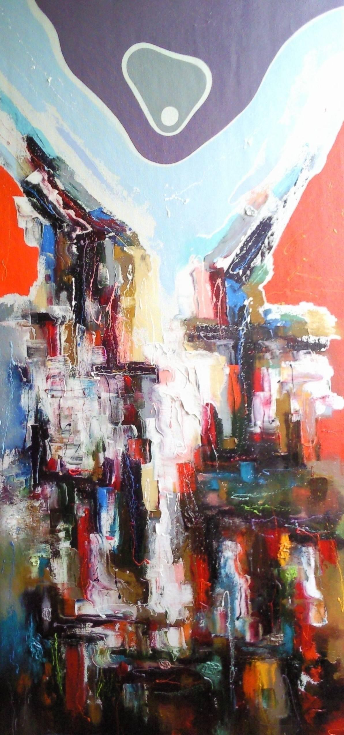 «Огни большого города»        холст, масло «City lights»                              oil on canvas                                                     185x90,  2014