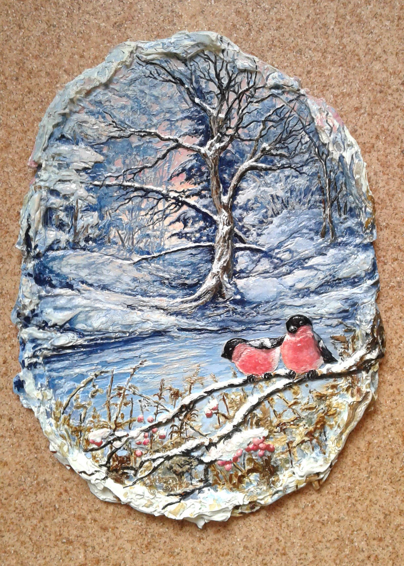 Снегири, цвет. 38х50 см. Масло.