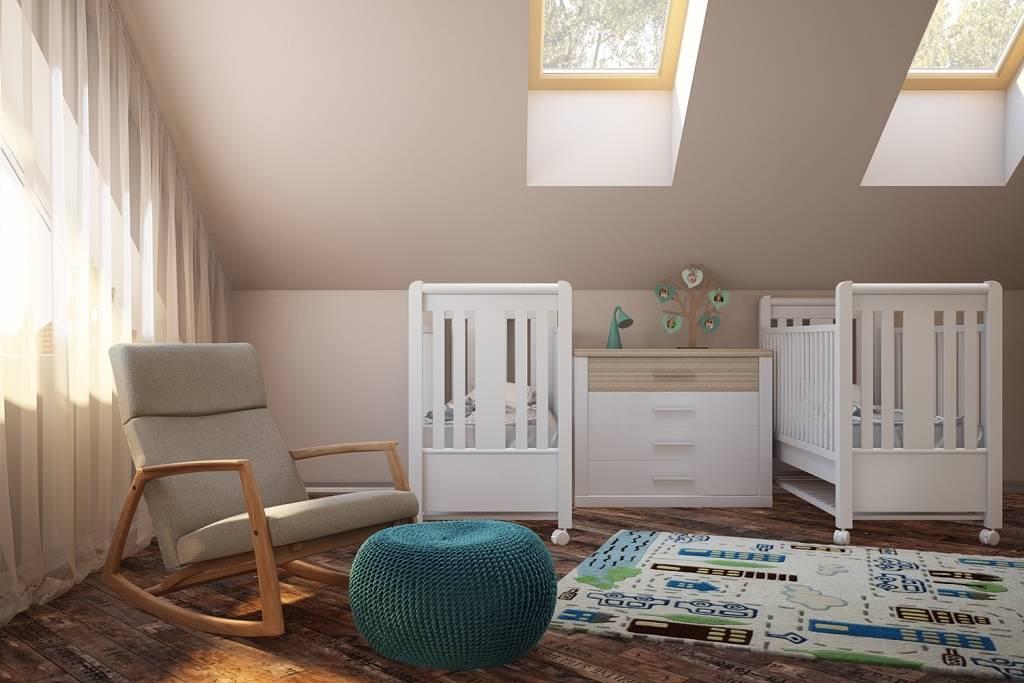 Максимум дневного света. Для детей очень важно пространство, наполненное дневным светом. В нашем случае - у нас: полноценное окно, два мансардных окна, и прозрачная балконная дверь. У всех окон есть функция полного затемнения для комфортного дневного сна.