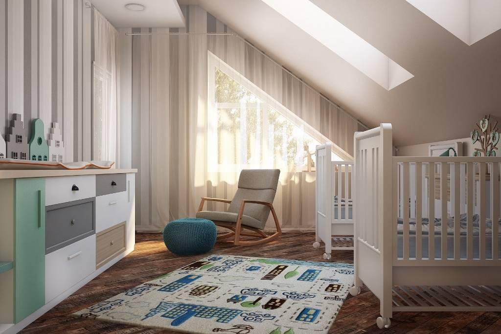 Удобное расположение мебели. В детской комнате все предметы мебели и даже их форма очень важны. Все должно быть удобно и функционально. Например к кроватке нужен подход с обеих сторон, а пеленальный стол должен быть просторный, безопасный и функциональный. Ничего лишнего - только нужные предметы мебели.
