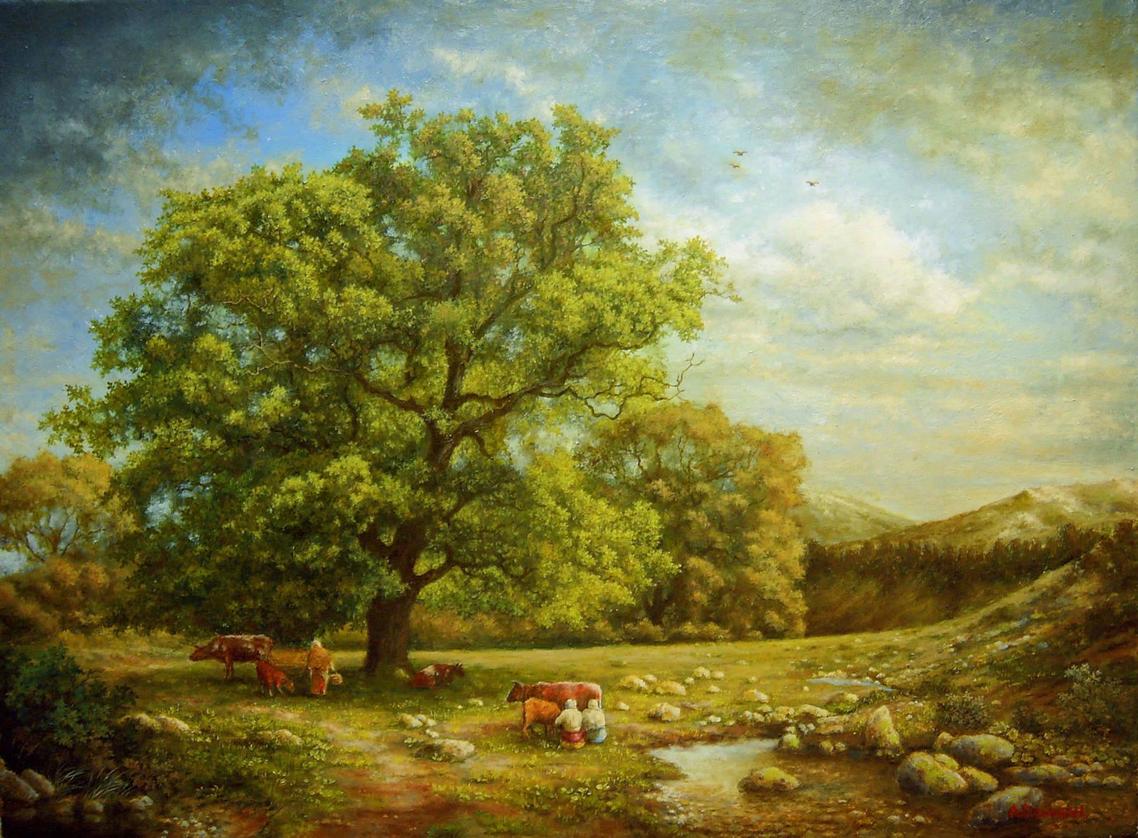 Пейзаж с ручьем ( холст, масло 55 х 41 )