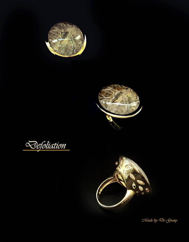 "Кольцо ""Листопад"". Золото. Глиптика - резьба по камню круг 22 мм"