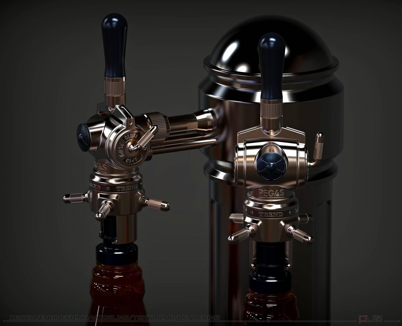 Устройство (Pegas) и колонна, для беспенного розлива пива.  Промышленный дизайн, моделирование, визуализация.