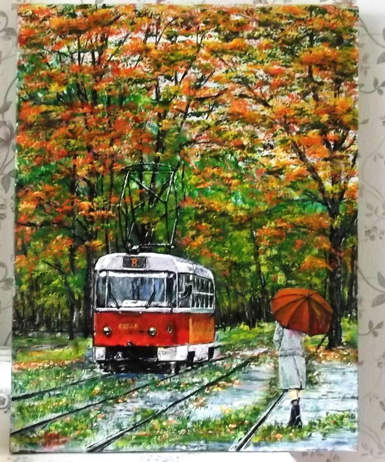 Холст 460*355. Осенний трамвайчик.