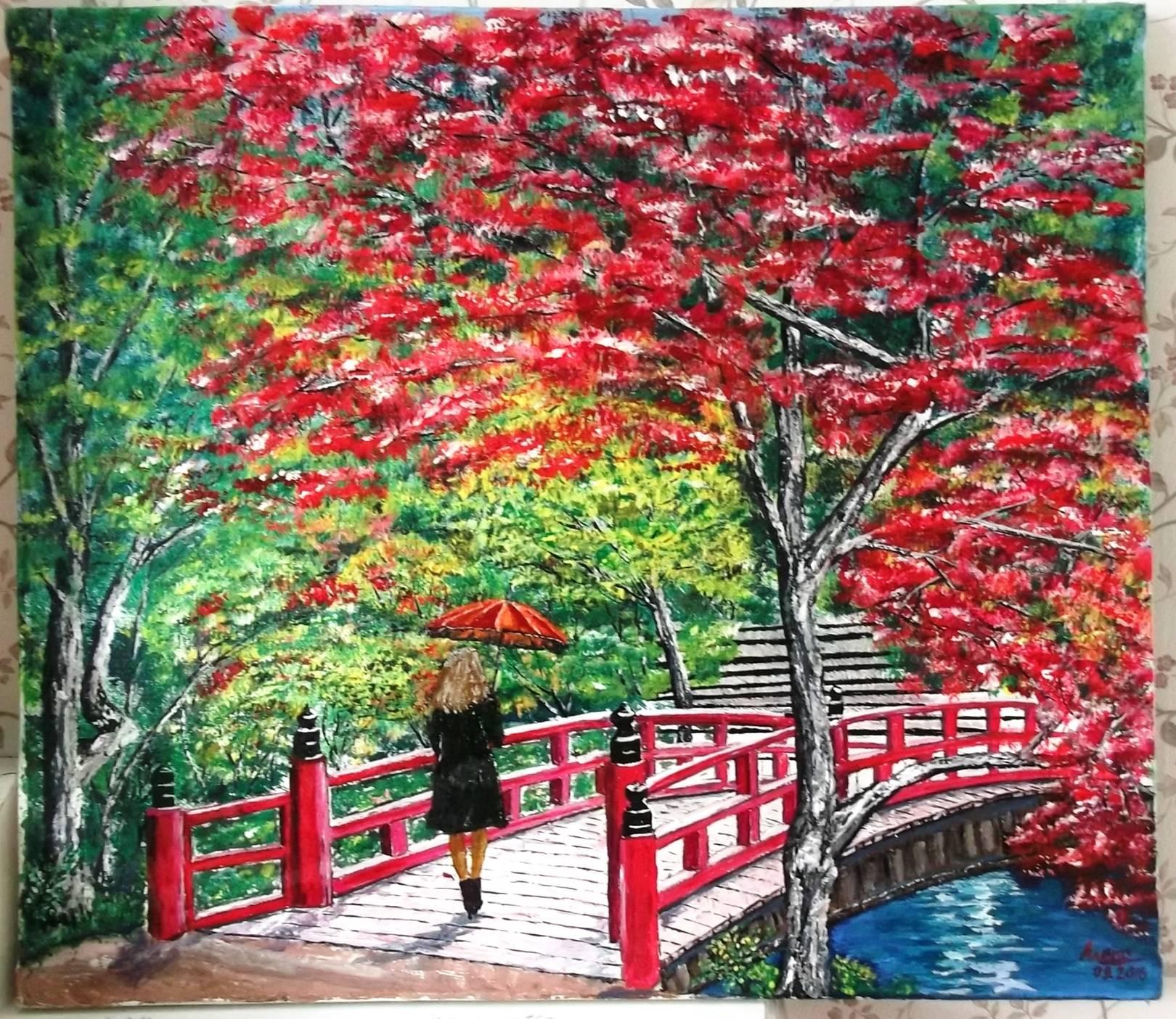 Холст 500*450. Японский сад.
