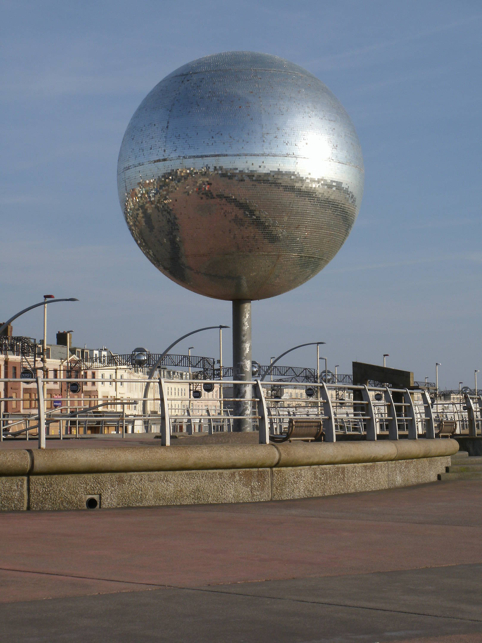 The Mirrorball Blackpool sea front. This is the splendid Mirrorball which brightens the sea front and is a pleasure to see especially on a bright sunlight day or a sunset.