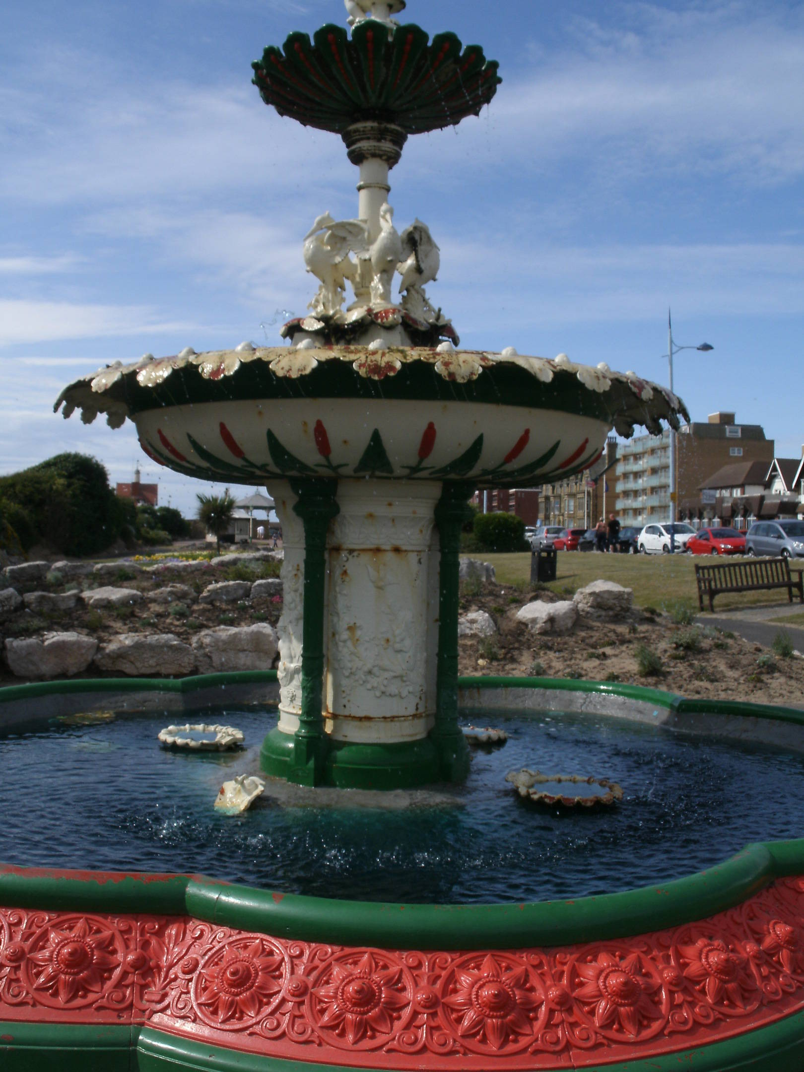 This is St Ann's just outside Blackpool with one of its many colourful fountains.