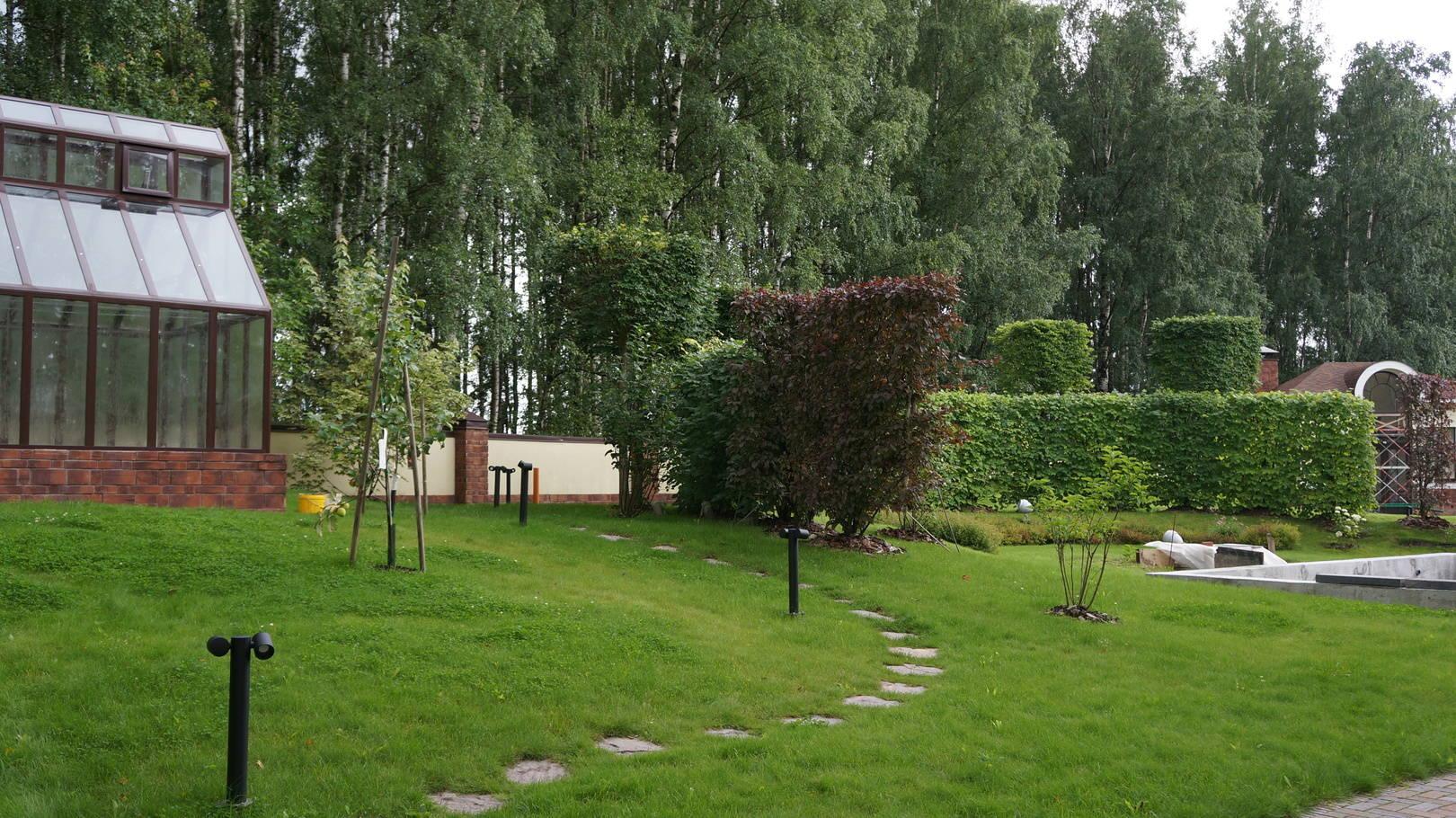 Осталось закончить чашу фонтана и тогда можно будет увидеть сад фронтально, с амфитеатром из элементов живой изгороди липы   и липы , кроны которой сформированы в кубы. Зелёными кабинетами служат декоративные яблони, расположенные с право и  с лева , зеленого амфитеатра.