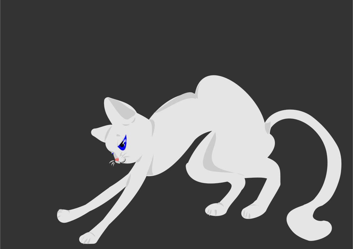 Белый котик, рисование в программе Xara Designer Pro X