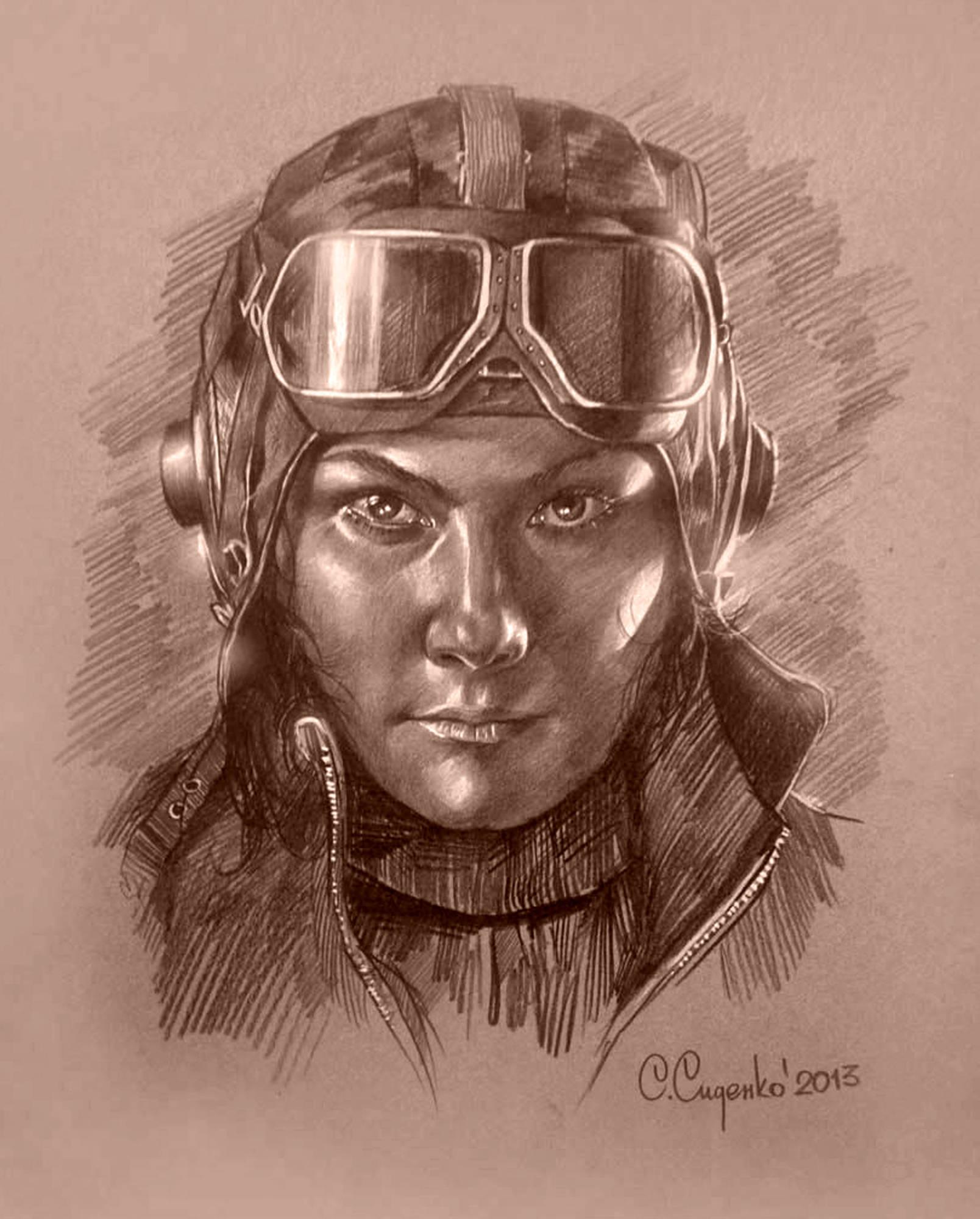 """Лётчица"" (картон/карандаш,пастель) 35х45см, 2013 г."