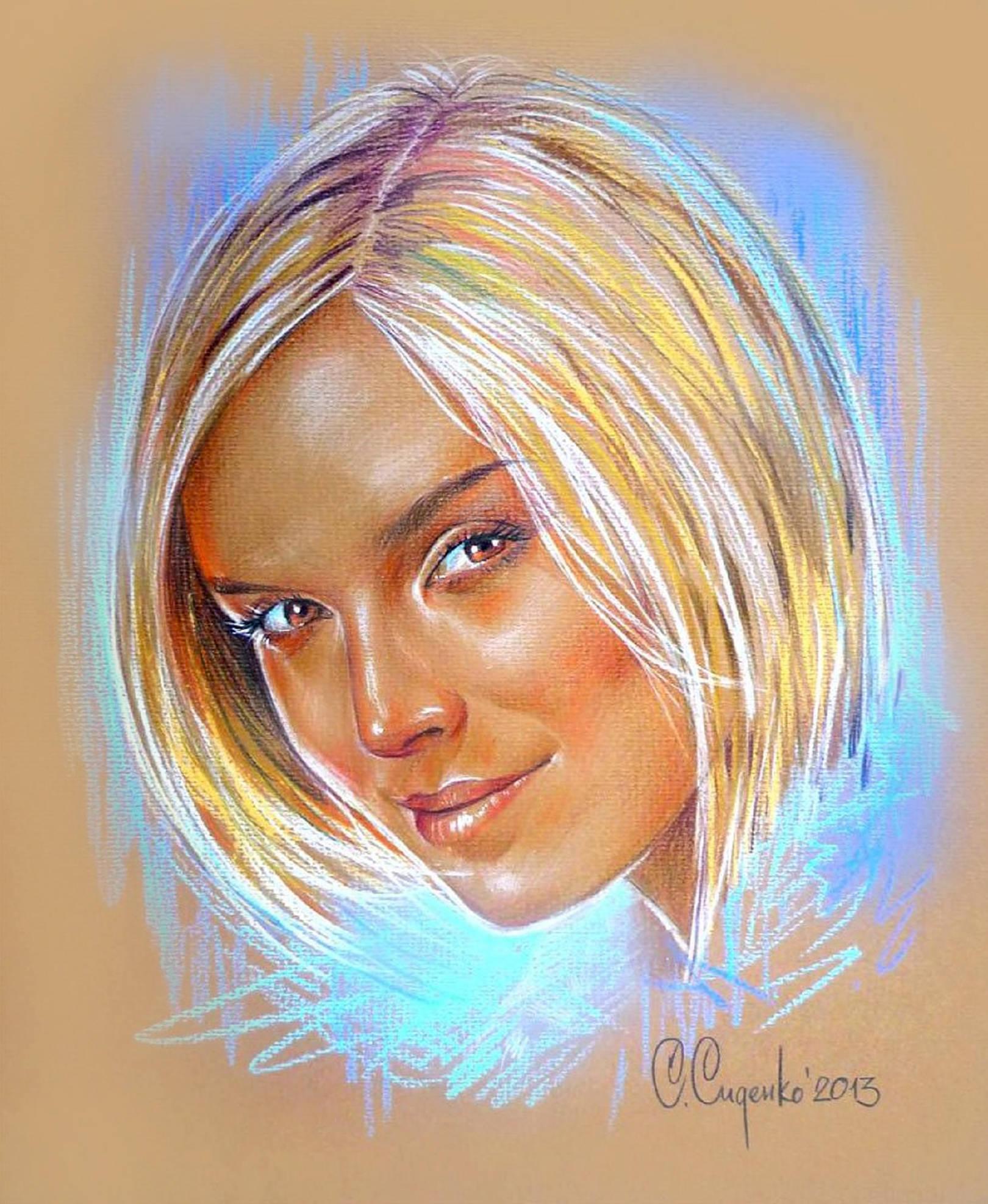 """Оксана"" (картон/карандаш,пастель) 35х45см, 2013 г."