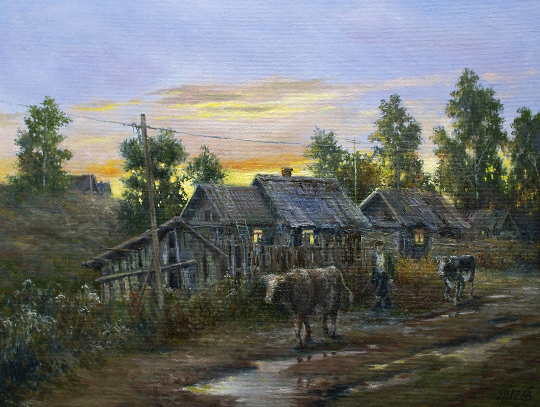 """Вечер в деревне"" - х,к/м, 30х40"
