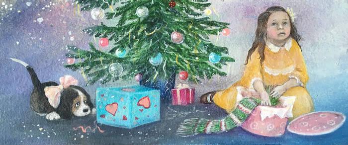 ....Чтоб в праздник не рыдать без толку,  смотри внимательней под елку!  Кто там украшенный бантом  Виляет радостно хвостом?