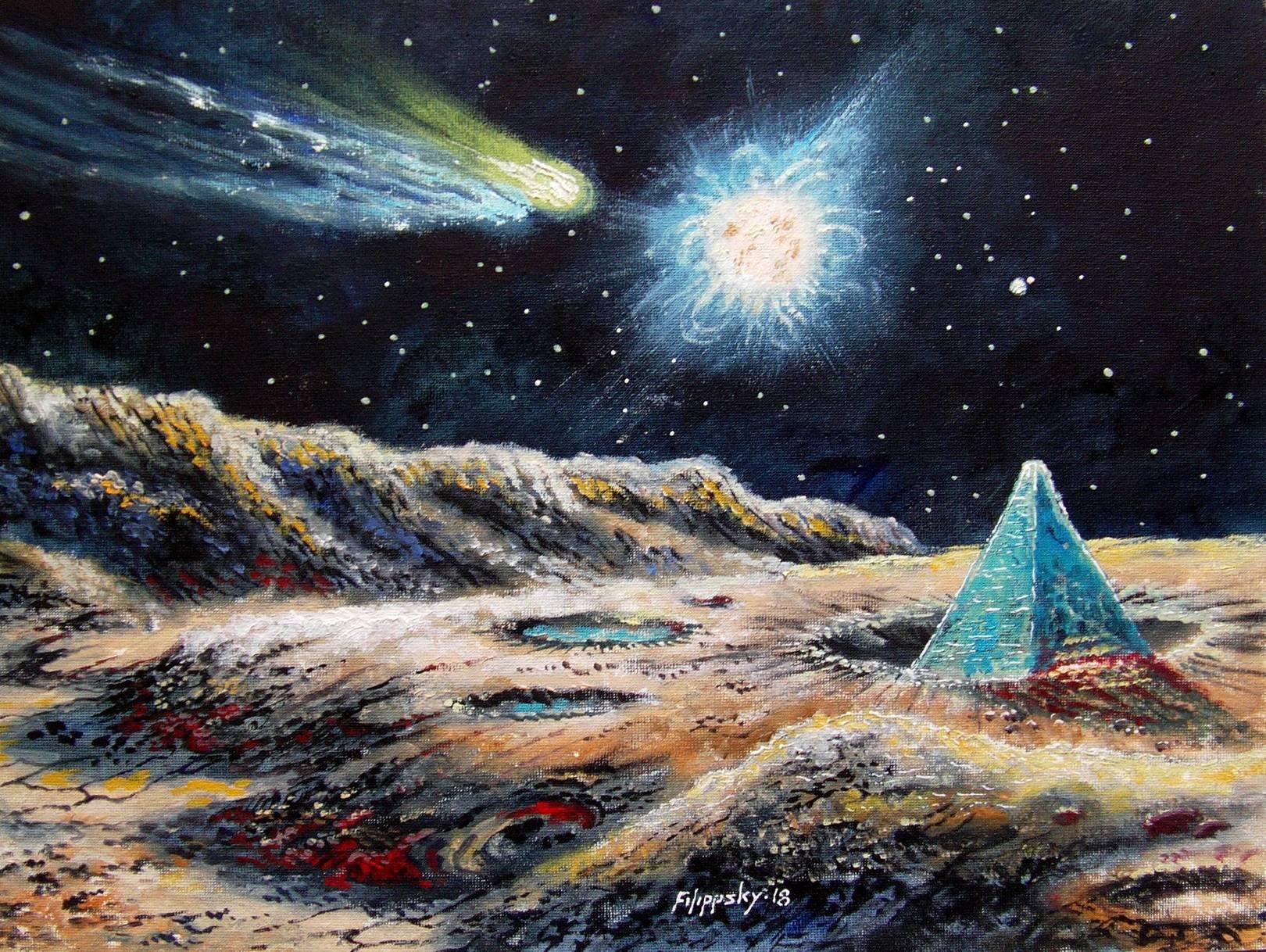 """""""Пейзаж Меркурия с кометой и голубой пирамидой""""  Голубые пирамиды на Меркурии были обнаружены станцией """"Messendger"""",крупная двойная звезда над верхушкой неизвестного объекта-это Земля и Луна."""