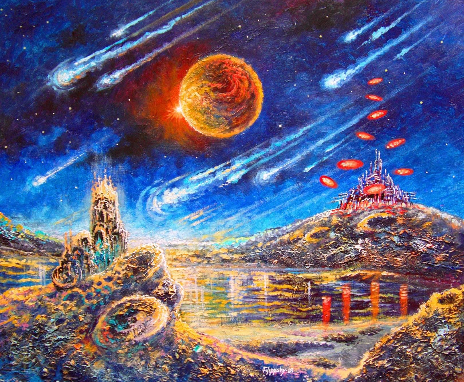"""""""29 век.Терраформирование Луны,начальный этап""""  Думается,придёт такое время,когда человечество начнет изменять природу Луны.Для создания атмосферы и океанов людям придется изменять орбиты комет и направлять их обломки в определенные районы Луны,чтобы избежать значительных сотрясений этого небесного тела."""