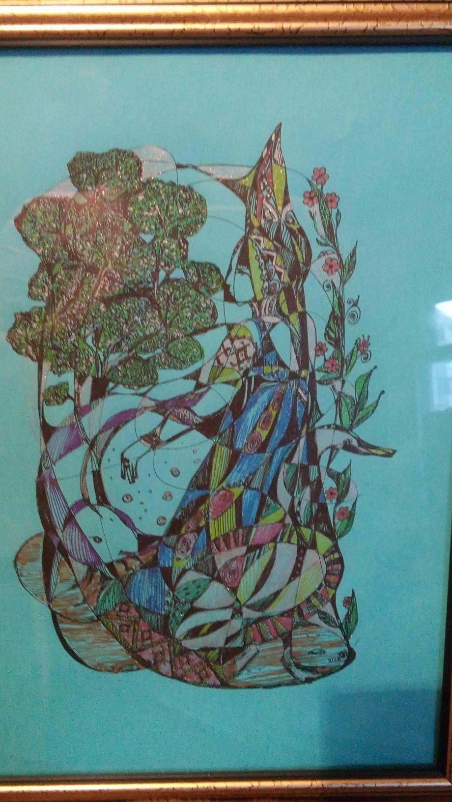 руна беркана  цветная бумага , гелевая ручка, глиттер, металлик; 30х21 см