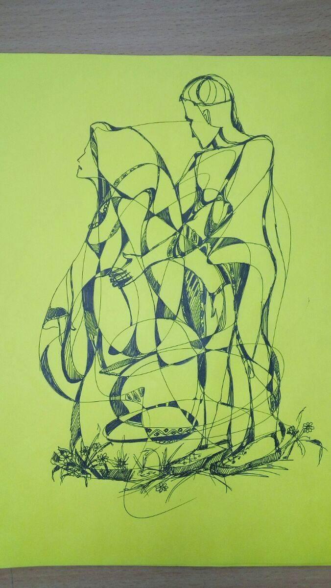 руна манназ  цветная бумага , гелевая ручка; 30х21 см