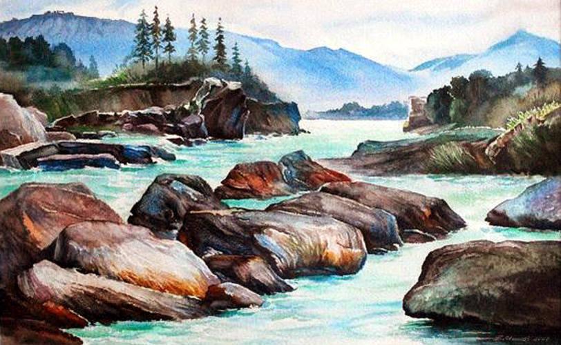 Алтайский край,который посетил с творческими целями в 1988 г. ,,Пороги на р. Катунь,,акв.исполнена в 2012 г.Нашла своего правообладателя,также побывавшего в одном из красивейших мест на планете.