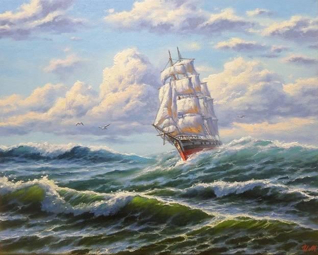 В открытом море. Холст, масло. 40х50 см