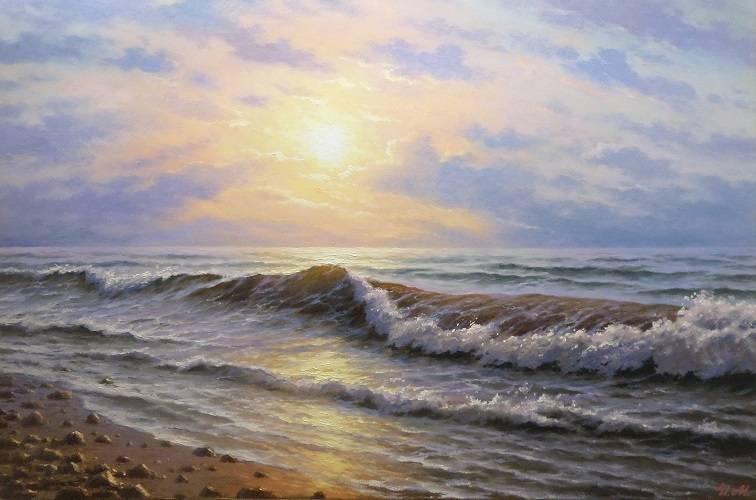 Утренняя волна. Холст, масло. 60х90 см