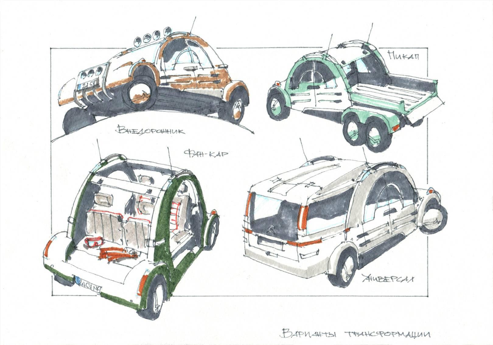 Варианты трансформации электромобиля: внедорожник, пикап, пляжный фан-кар и универсал