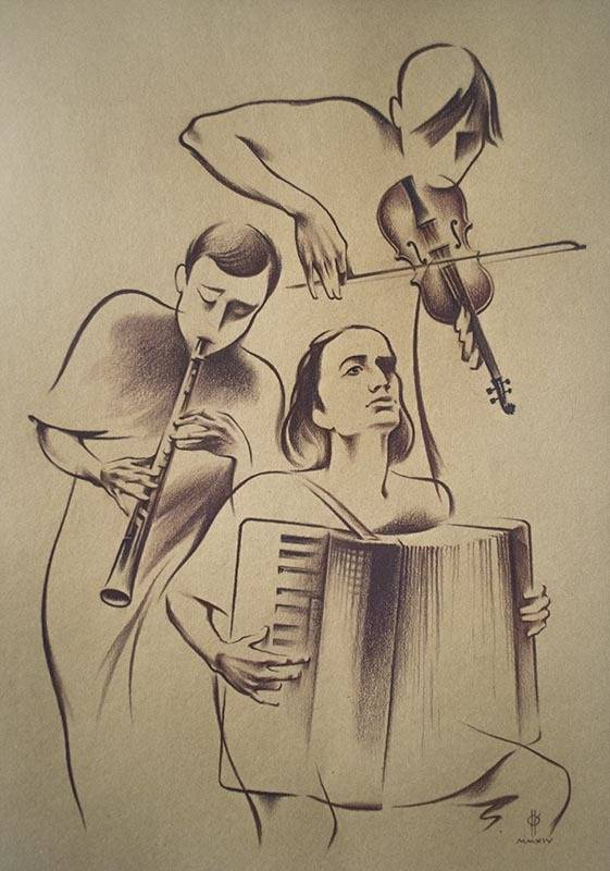 """JAZZ-5""  paper,sepia  49x34  2014"