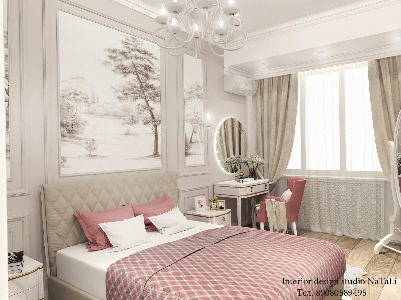 Дизайн проект таунхауса в ЖК Премьера г. Челябинск. Площадь первого этажа около 100 кв.м. За основной стиль спальной комнаты взят стиль классика, основная цветовая гамма в светлых, легких теплых оттенках. Контакты:   Тел; 89080589495   почта; 89080589495@mail.ru  сайт; http://www.buchneva-design74.ru  группа в контакте; https://vk.com/club91717675