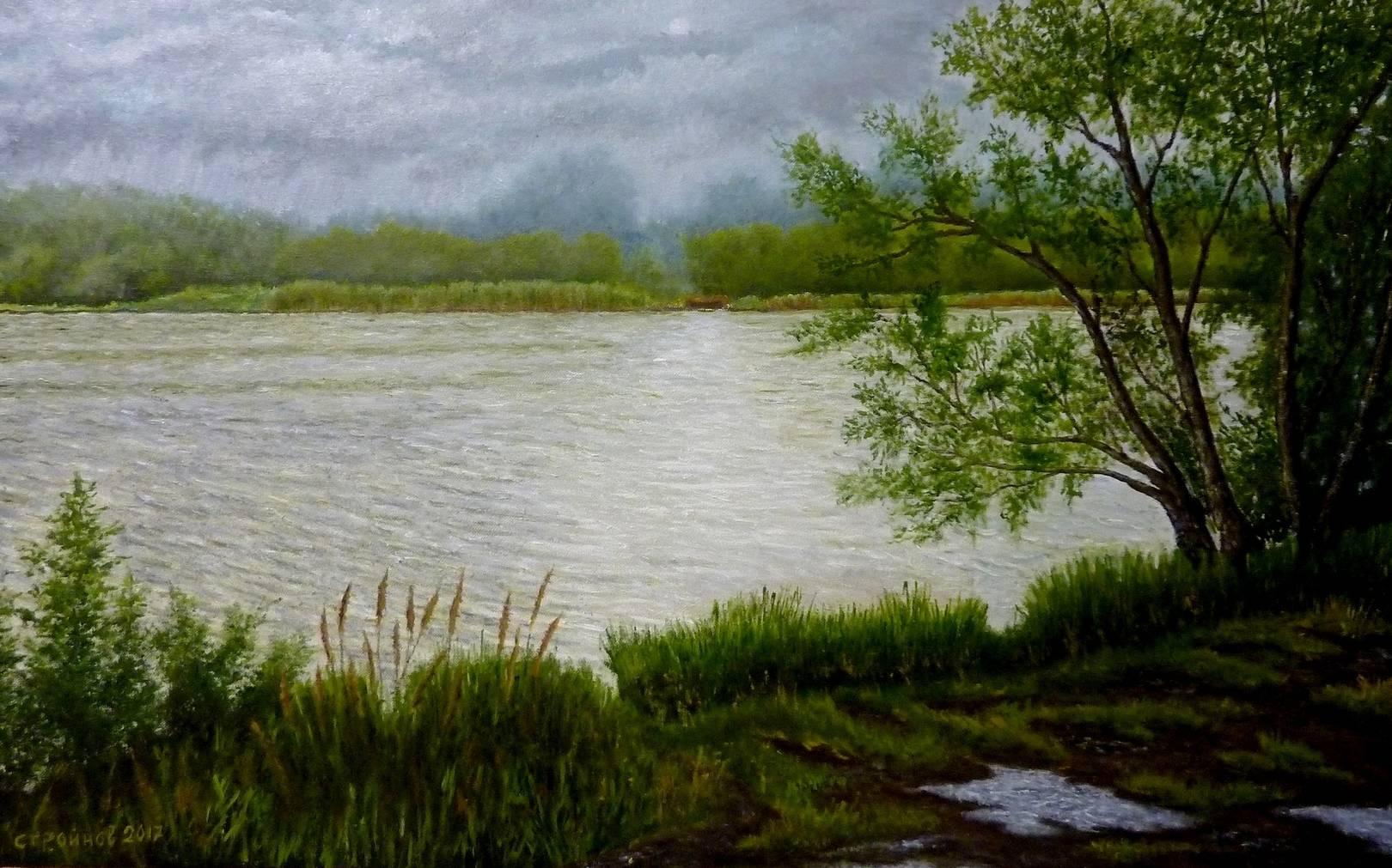 Река Сура. Дождь.  холст, масло 50х80 см.