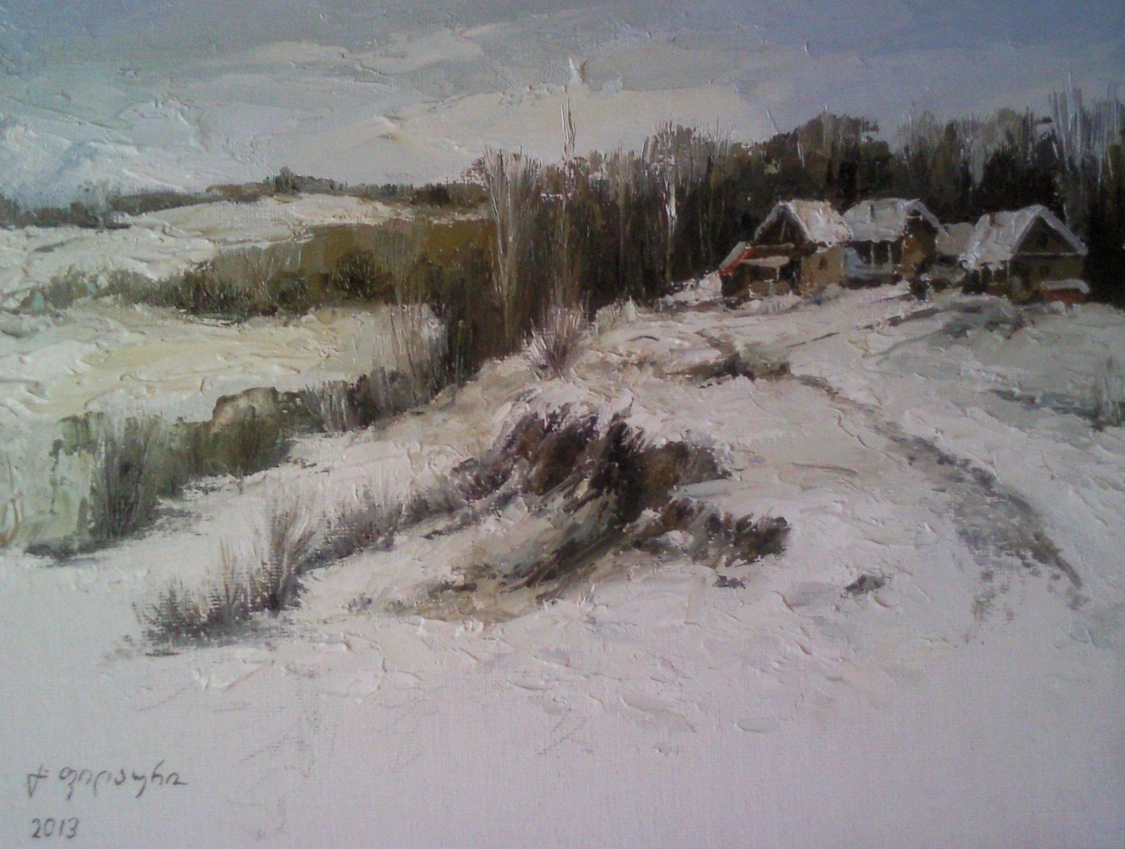 «Деревенька зимой»    холст, масло «Village in the winter»    oil on canvas 24x30, 2013