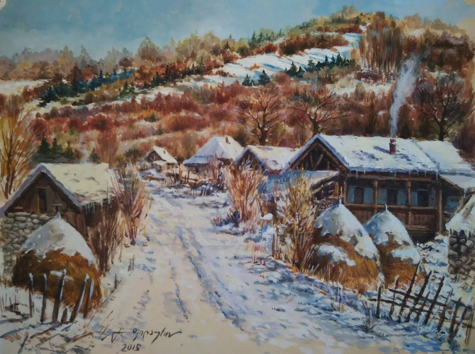 «Деревенька зимой»            бумага, акварель, гуашь «The village in the winter»     paper, aquarelle, gouache 30x35, 2015