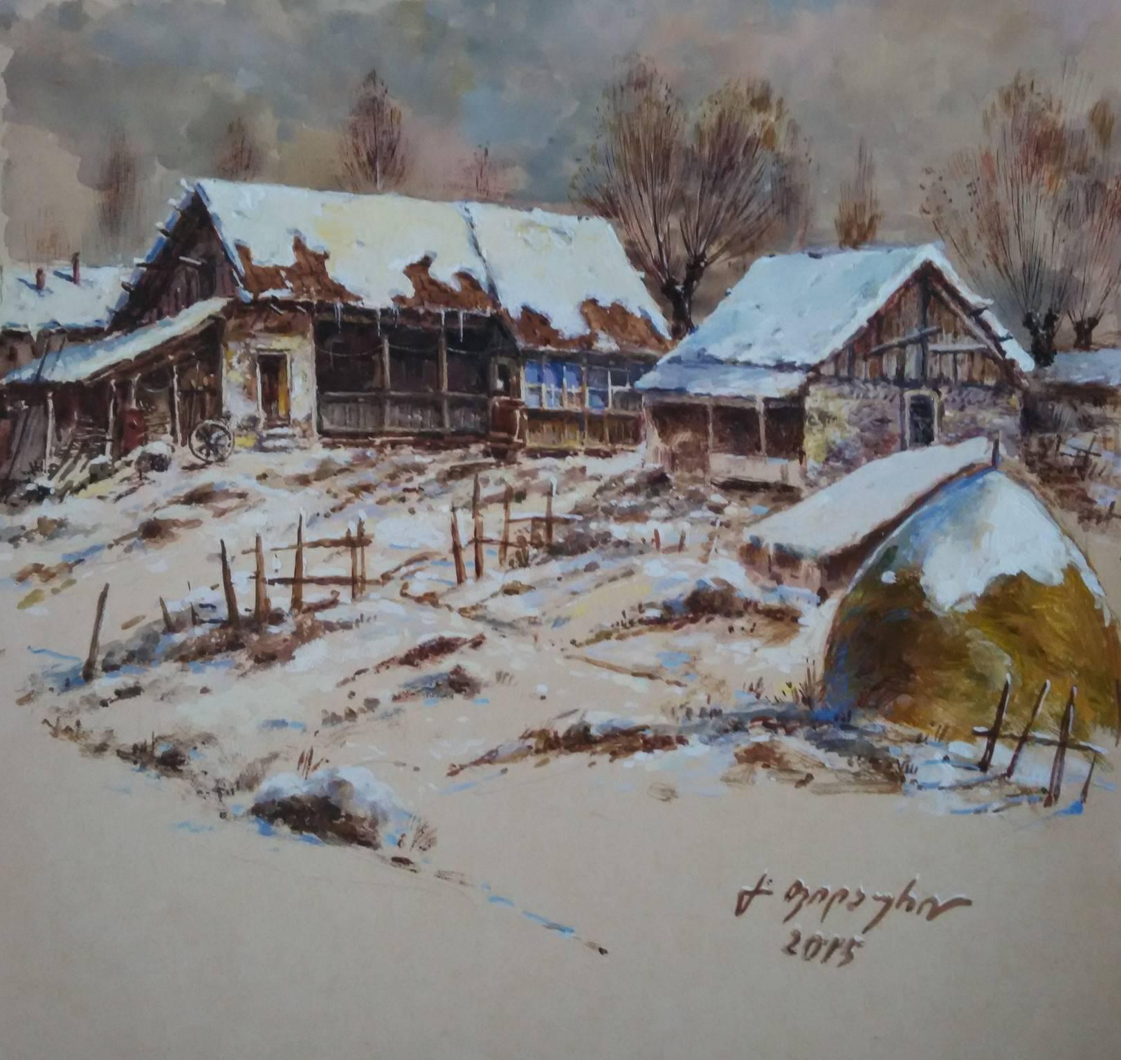«Деревенька зимой»          бумага, акварель, гуашь «The village in the winter»    paper, aquarelle, gouache 28x28, 2015