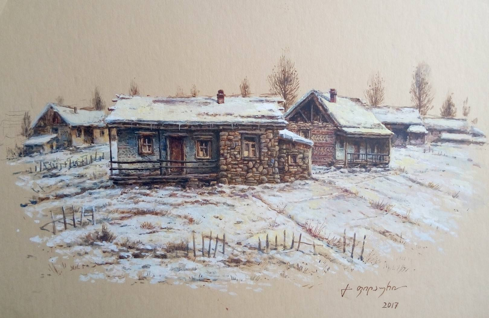 «Деревенька зимой»           бумага, акварель, гуашь «The village in the winter»    paper, aquarelle, gouache 28x42, 2017