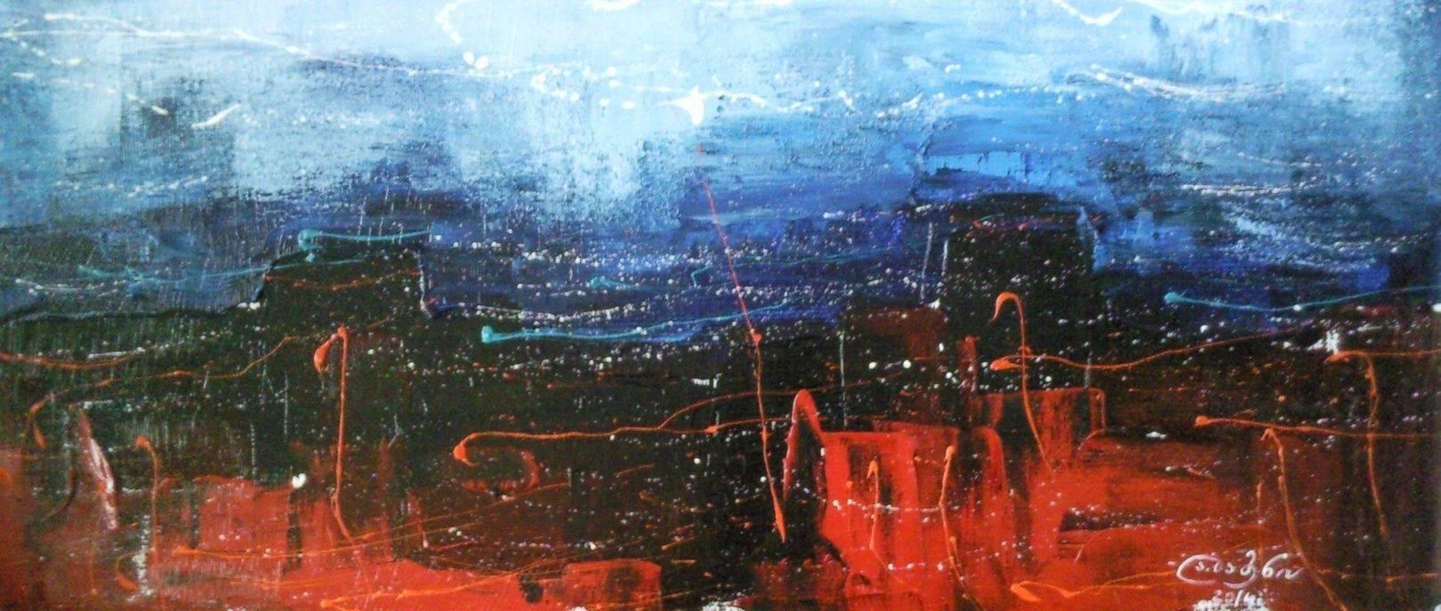 «Ночной город. Перый снег»    холст, масло «City at night. First snow»          oil on canvas                                                       30x70,  2014