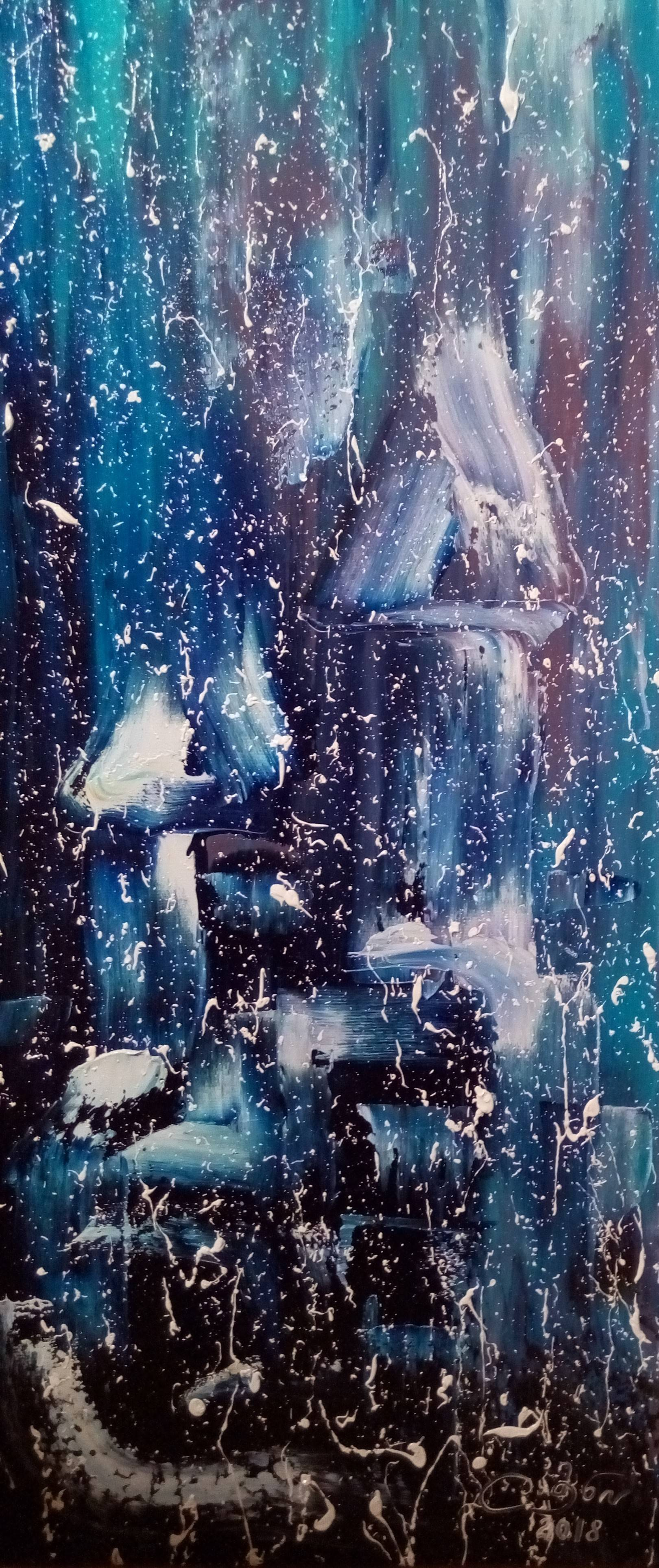 «Ночной зимний город»    холст, масло «Night city in the winter»    oil on canvas  30x70,  2018