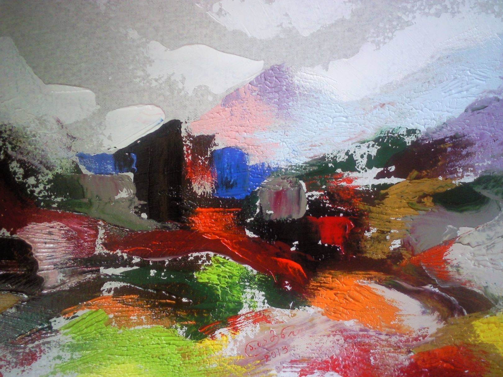 «Рассвет в Сванетии»      холст, масло «Dawn in Svaneti»             oil on canvas                                                      30x40,  2013