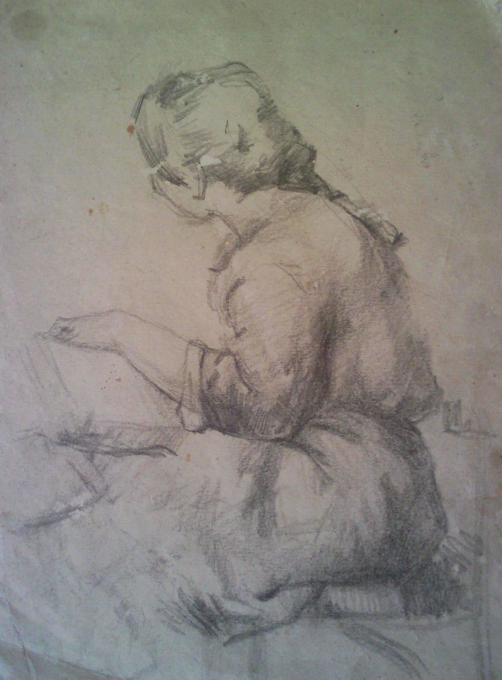 «Наира» (портрет сестры)       бумага, карандаш  «Naira»   ( portrait of a sister)    paper, pencil 28x20, 1984