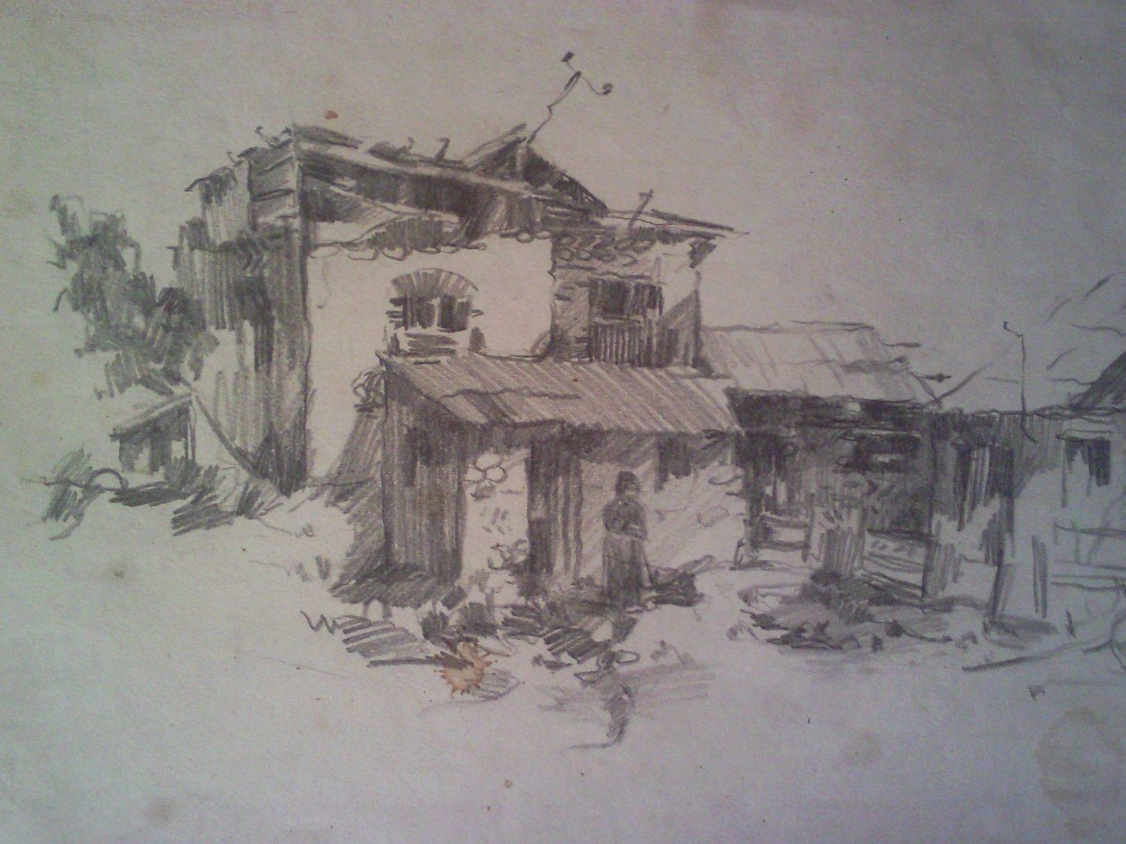 «Дома у Уплисцихе»                       бумага, карандаш «Houses at the Uphlistsikhe»           paper, pencil 30x40, 1983