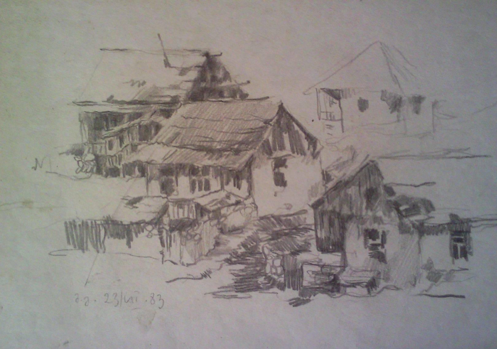 «Старые дома у Уплисцихе»         бумага, карандаш «Old houses at the Uphlistsikhe»    paper, pencil           30x40, 1983
