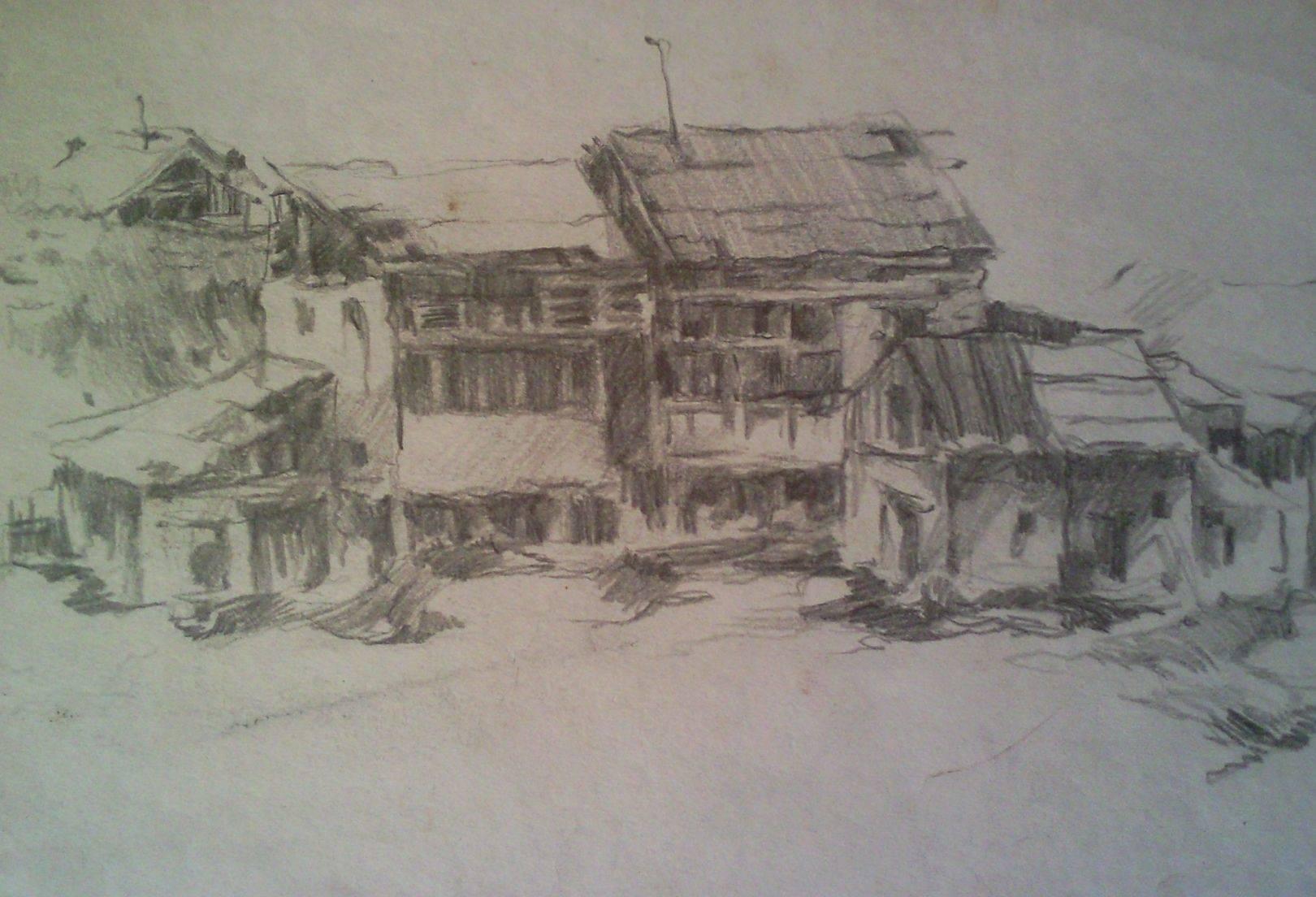 «Старые дома в Картли»               бумага, карандаш «Old Houses in Kartli»                     paper, pencil 35x55, 1982