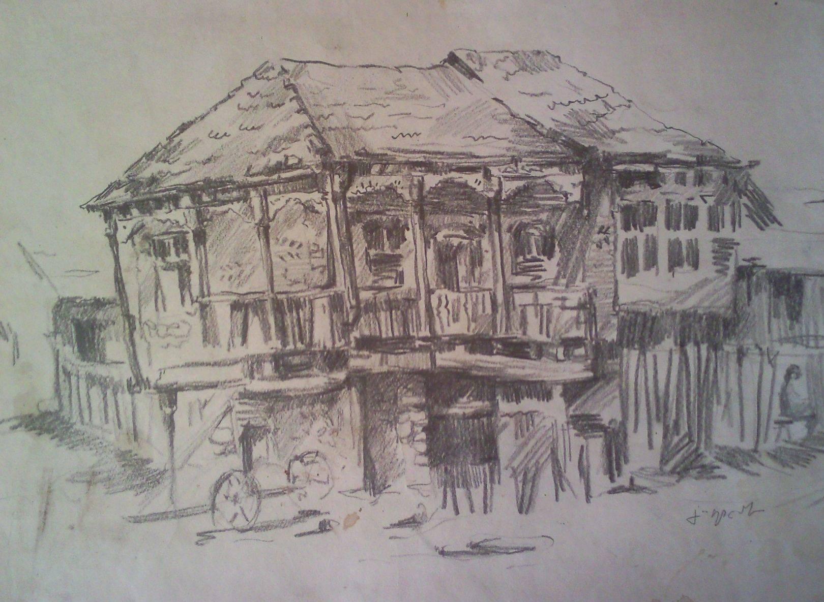 «Старый дом в Картли»            бумага, карандаш «Old House in Kartli»                  paper, pencil 45x70, 1983
