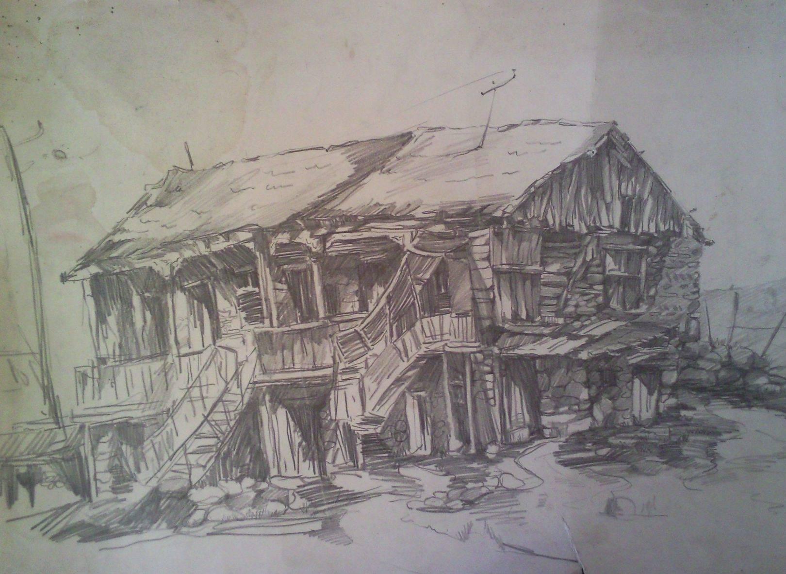 «Дом в Картли»            бумага, карандаш «House in Kartli»           paper, pencil 45x70, 1983