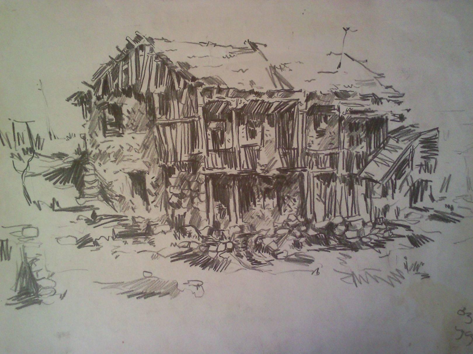 «Дом в Цинарехи»            бумага, карандаш «House in Tsinarekhi»        paper, pencil 40x65, 1983