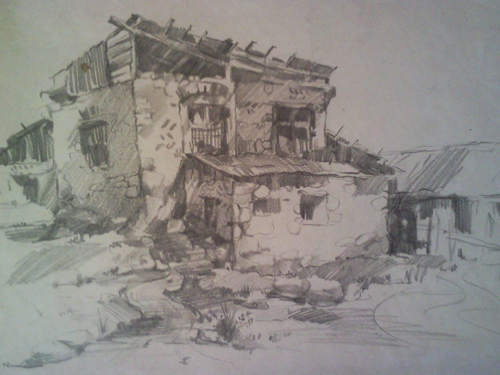 «Дома в Уплисцихе»                    бумага, карандаш «Houses in the Uplistsikhe»          paper, pencil 27x30, 1982